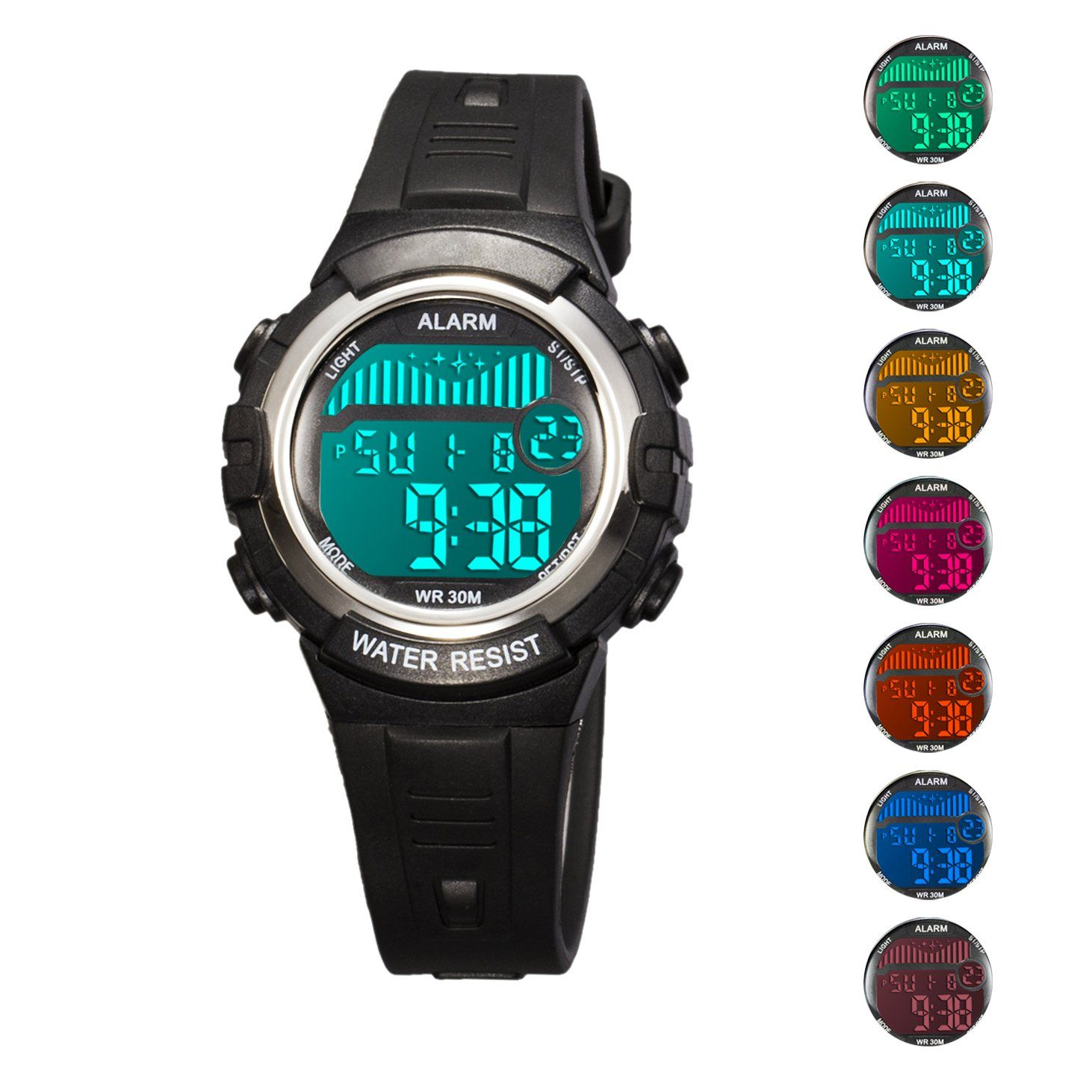 cfa0456dd Kids Digital Sport Watch Outdoor Waterproof Watch with Alarm for Child Boy  Girls Gift LED Kids Watch 7 Colors Led