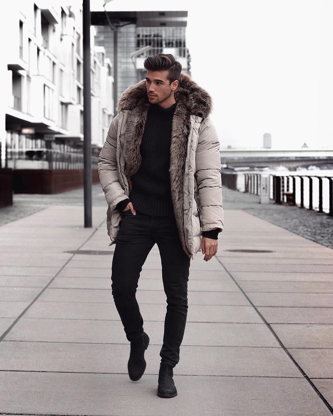 Men S Winter Fashion Puffer Jacket Fur Hooded Black T Shirt Black Jeans Visit Urbanmenoutf Winter Outfits Men Mens Winter Fashion Hipster Mens Fashion