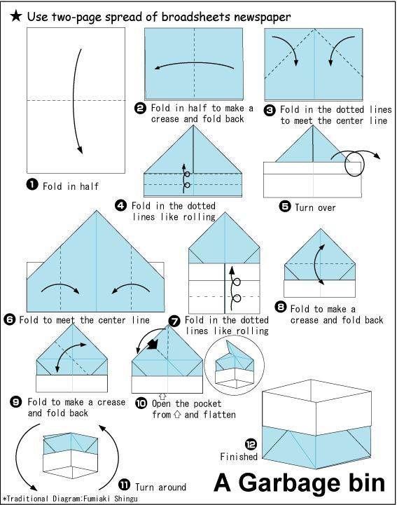 Origami Garbage Bin | origami | Pinterest | Origami, Craft and ...