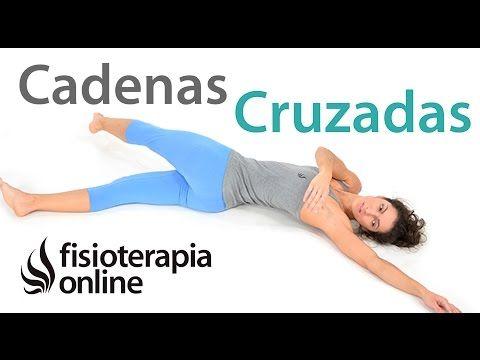 Estiramiento de cadenas musculares cruzadas pierna, columna y brazo ...
