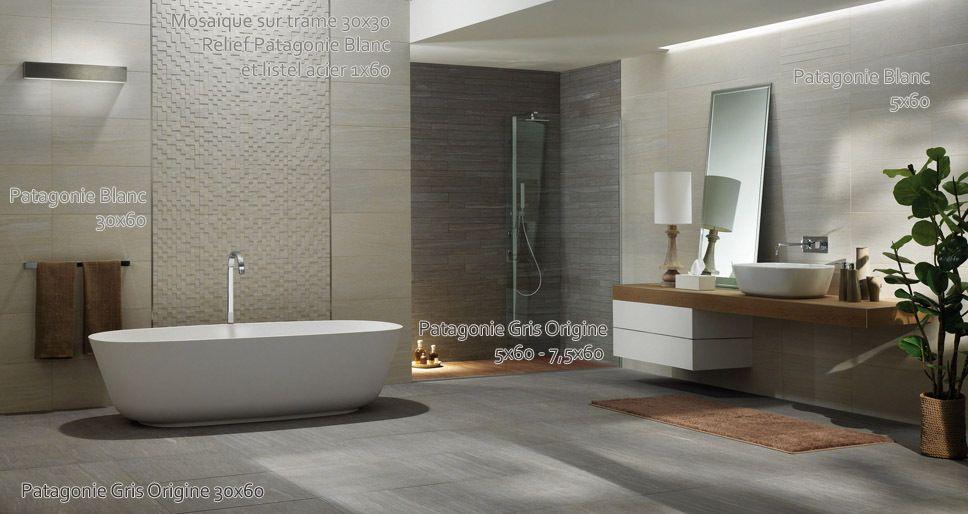 carrelage salle de bain ambiance patagonie gris blanc - Salle De Bain Carrelage Gris Et Blanc