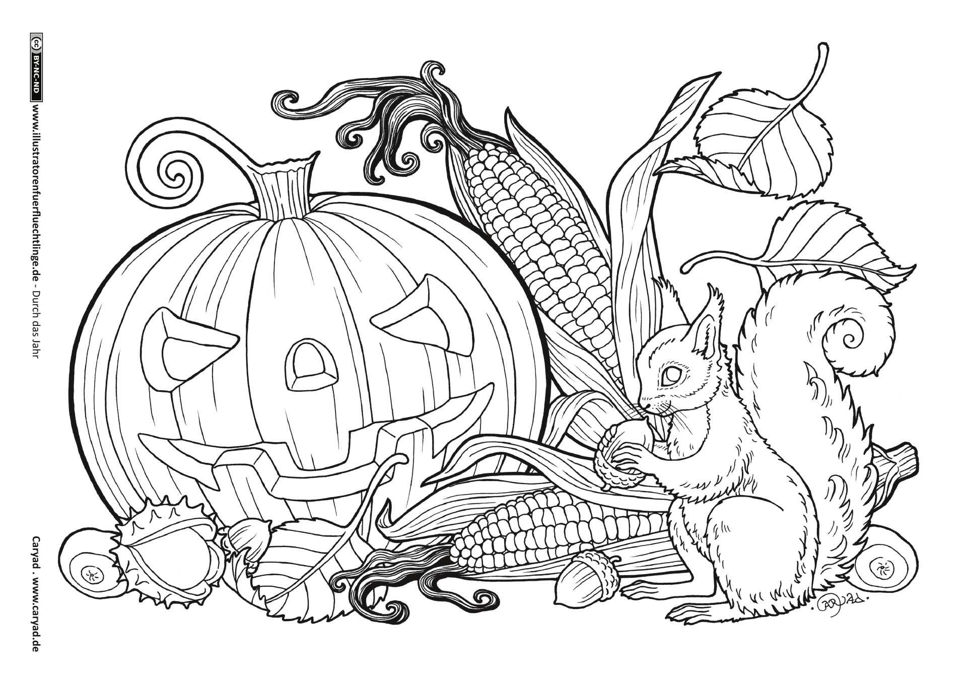 Ausmalbilder Herbst Kürbis: Download Als PDF: Durch Das Jahr