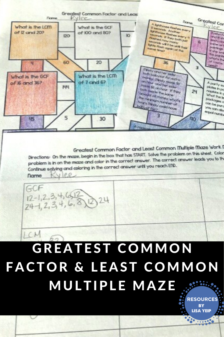 Greatest Common Factor And Least Common Multiple Maze Activity Least Common Multiple Greatest Common Factors Math [ 1102 x 735 Pixel ]