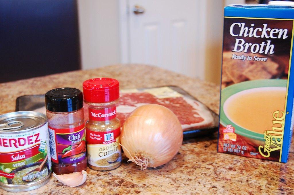 Salsa Verde Steak in the crockpot: Steak, Onion, Salsa Verde, onion and spices... easy!