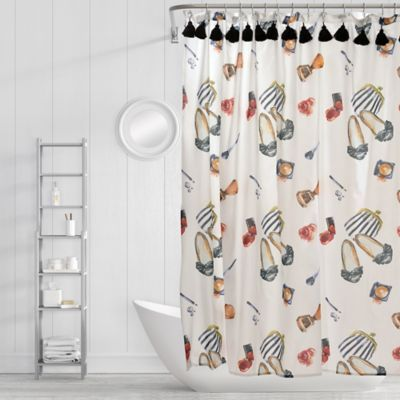 Simply Whimsical Wake And Makeup Shower Curtain In Black Red