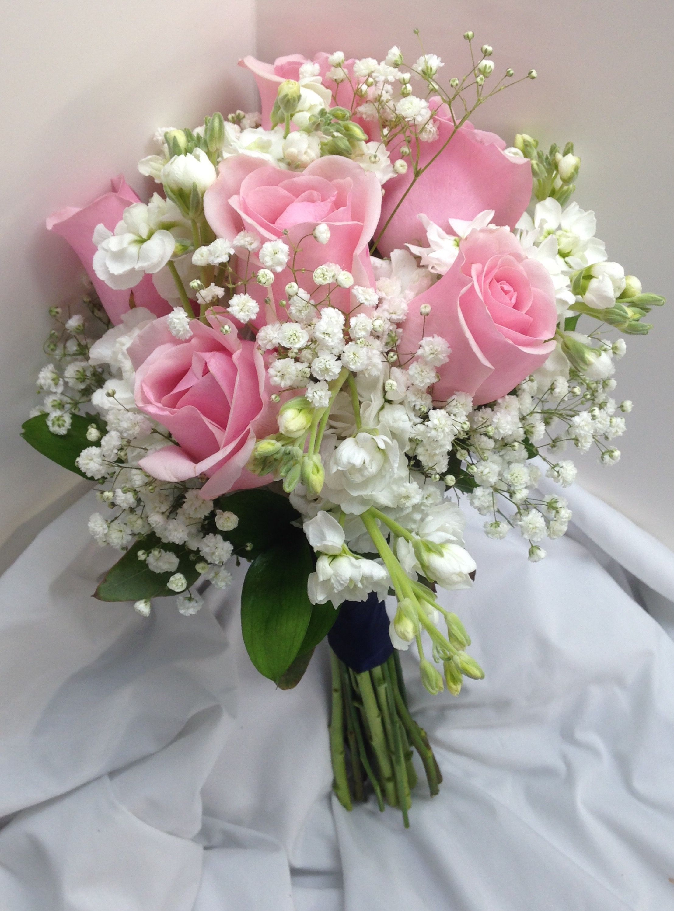 Bridal Bouquet With Pink Roses White Mini Carnations And Baby S Breath Wedding Bouquets Pink Flower Bouquet Wedding Prom Flowers Bouquet