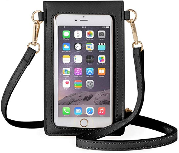 Women Sling Bag Leather Crossbody Mobile Phone Small Pouch Crossbody Flap