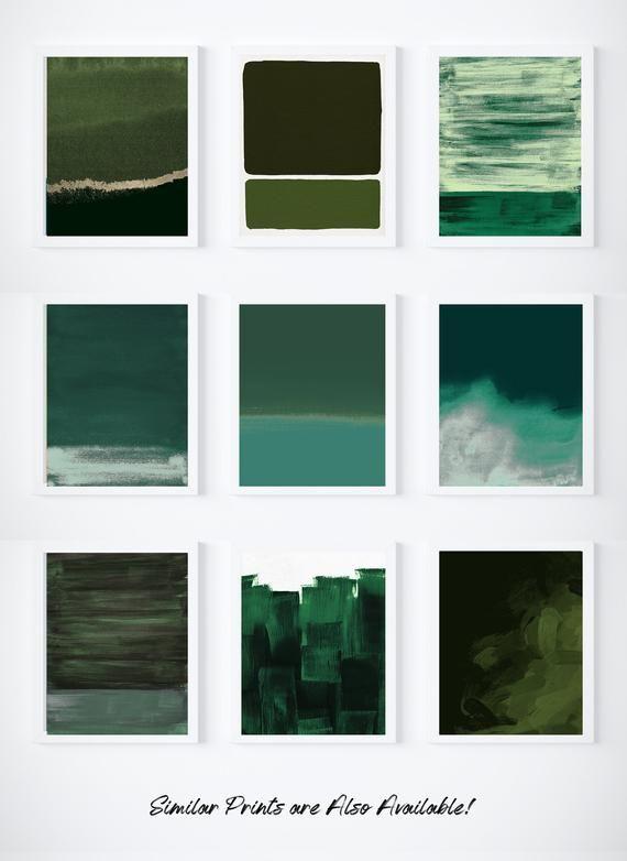 Waldgrün Druck | Dunkelgrünes Dekor | Dunkelgrüne Malerei | Moderner Druck | Grüne Kunst | Grüne Wandkunst | Minimalistischer Druck minimal