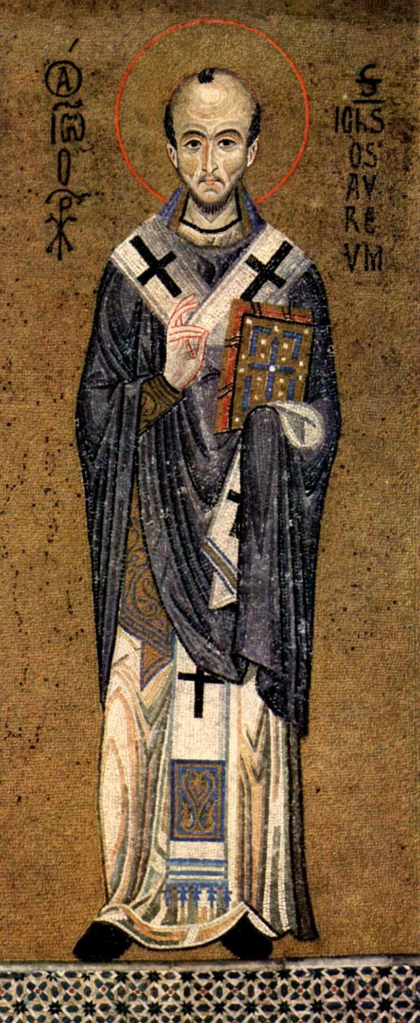 Face and hair. Saint John Chrysostom, c. 1150 mosaic in the Palatine Chapel, Palermo.