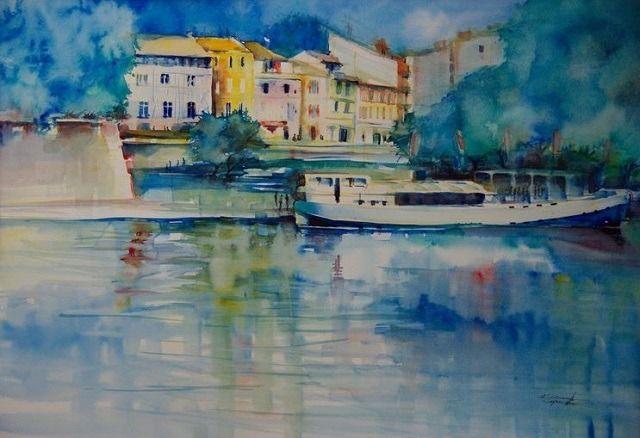Aquarelle Toile De Toulouse Bateau Sur La Garonne Aquarelle