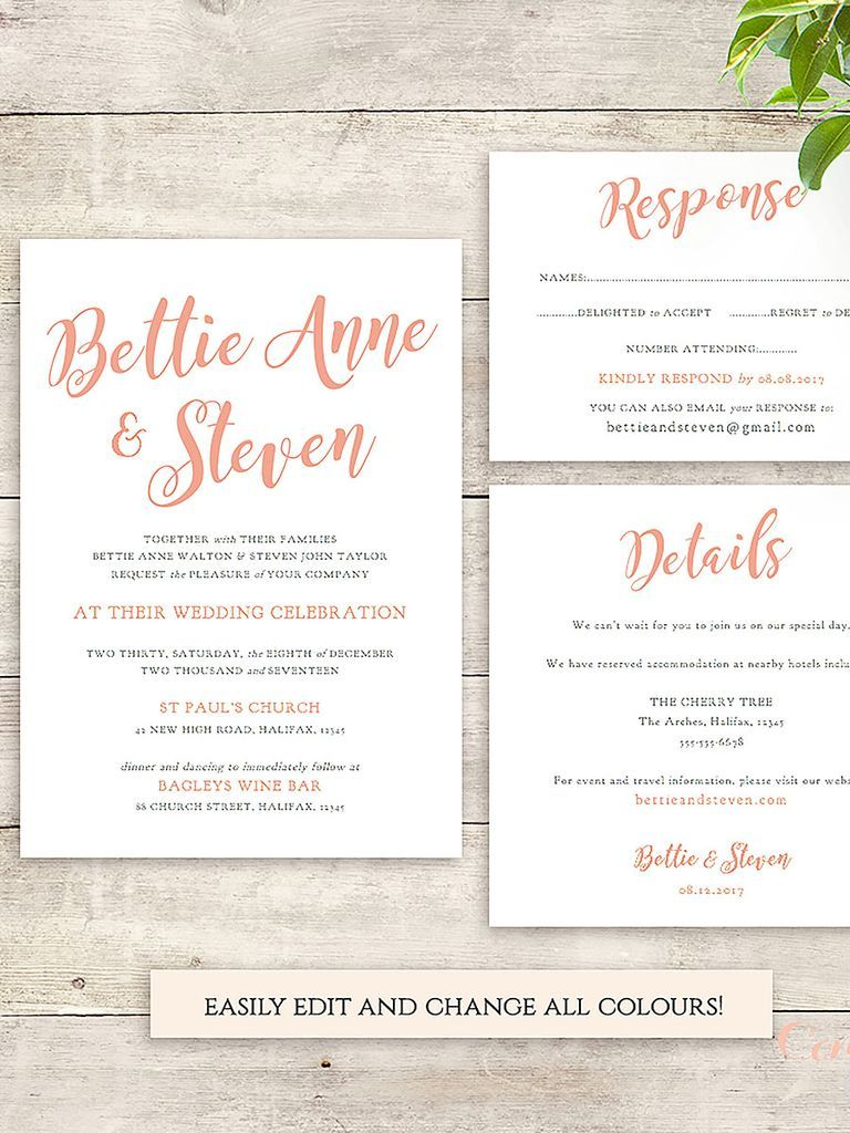 21 Wedding Invitation Templates You Can Personalize And Print Free Wedding Invitation Templates Wedding Invitations Printable Templates Printable Wedding Invitations