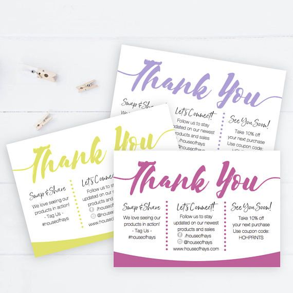 Small Business Thank You Insert Cards