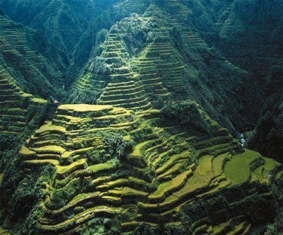 Banaue Rice Terraces, Philippines. These terraces were carved manually by the Ifugao Tribe Member over 2,000 years ago. They are sooooo beautiful; they look like stairways to Heaven.