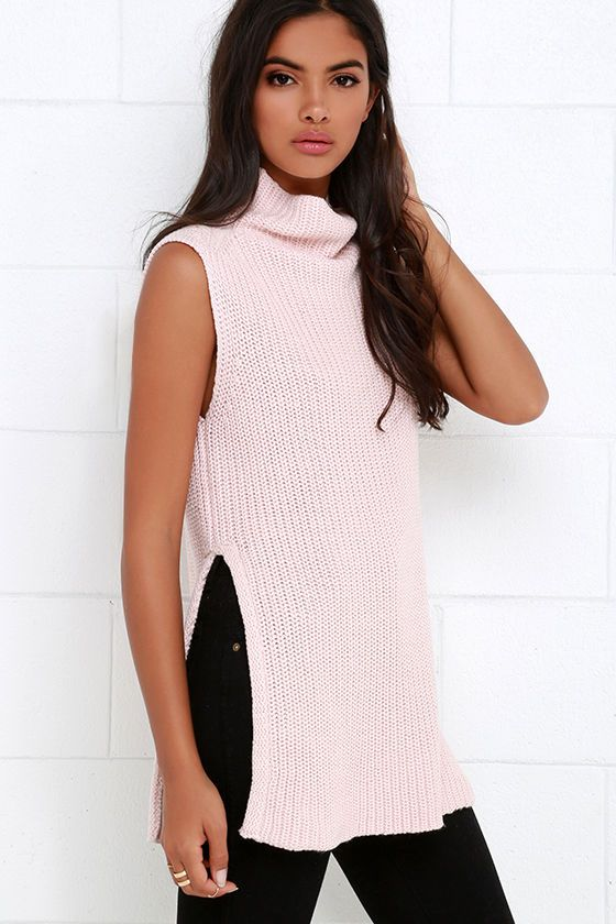05ae3a6716faa Far Side Blush Pink Sleeveless Sweater Top at Lulus.com!