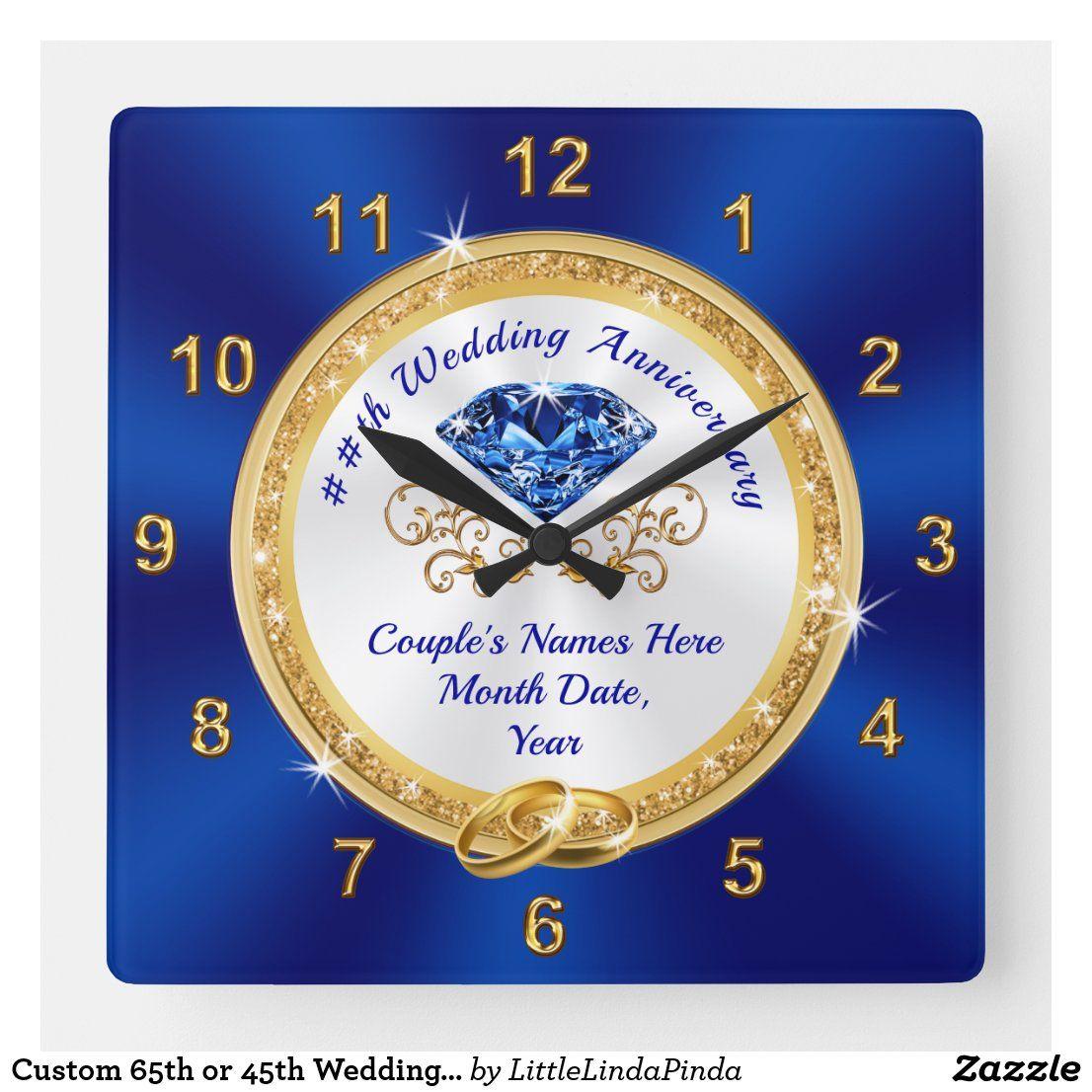 Custom 65th or 45th Wedding Anniversary Gift Ideas Square