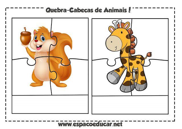 Jogo educativo grátis: quebra-cabeça de animais para imprimir e ...