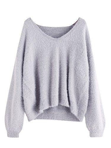 74f4051c4 ROMWE Women s Loose Puff Sleeve V Neck Fuzzy Pullovers Ju... https ...