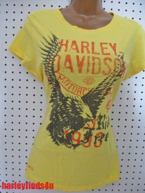 1f6717c773 M nwt HARLEY DAVIDSON  Mixed Vintage  Gem Eagle Bright Yellow Tee Shirt Top  Soft