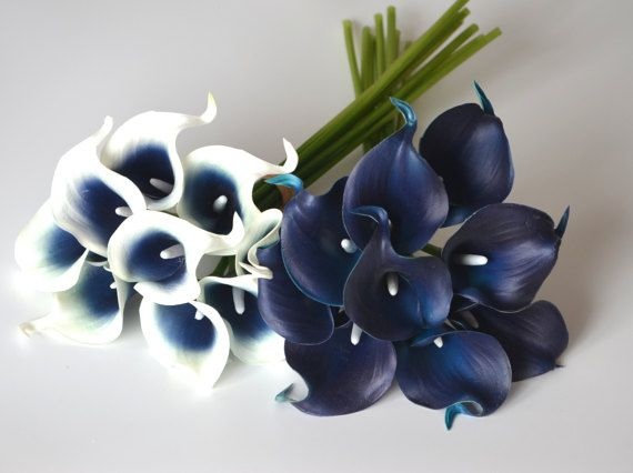 Navy Blue Picasso Calla Lilies Real Touch Flowers For Wedding