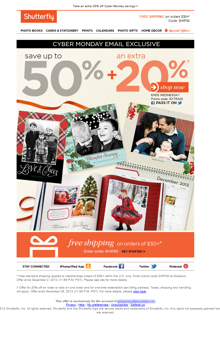 shutterfly cyber monday cyber monday exclusive get up to 50