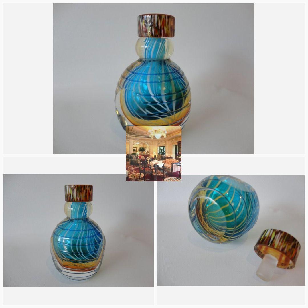 Vintage Murano Glass Ribbon Swirl Perfume Bogttle Glass Perfume Bottle Murano Glass Perfume