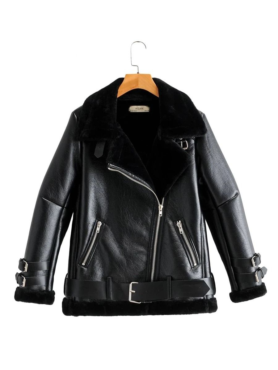 Affiliate Link Pu Leather Sherpa Lined Belted Moto Jacket In 2020 Jackets Sherpa Lined Fall Fashion Coats [ 1198 x 900 Pixel ]