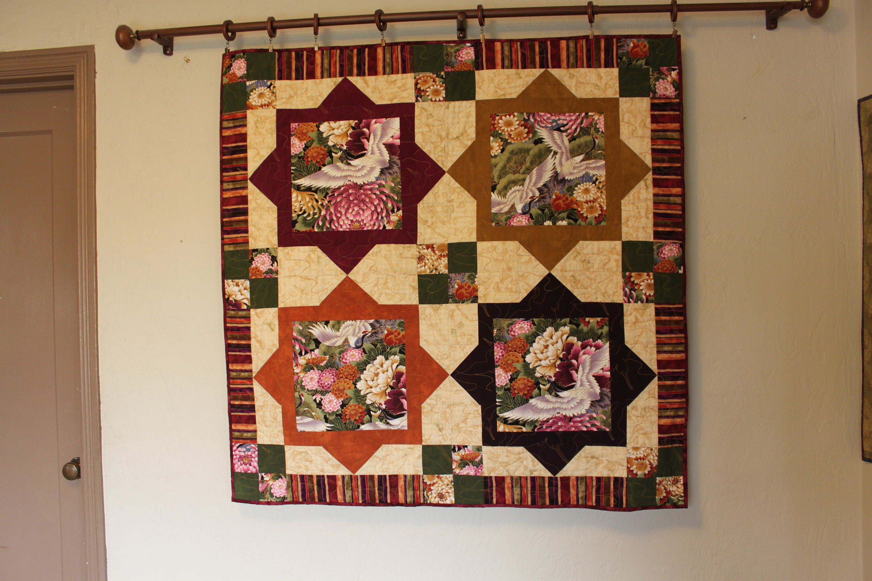 Asian Cranes Quilt / Wall Hanging, Quilts for Sale, Handmade Quilt ... : handmade quilts for sale etsy - Adamdwight.com