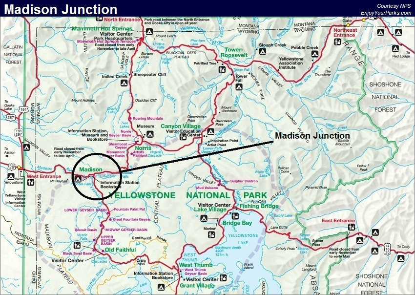 Madison Junction Map, Yellowstone National Park Map | Fishing ...