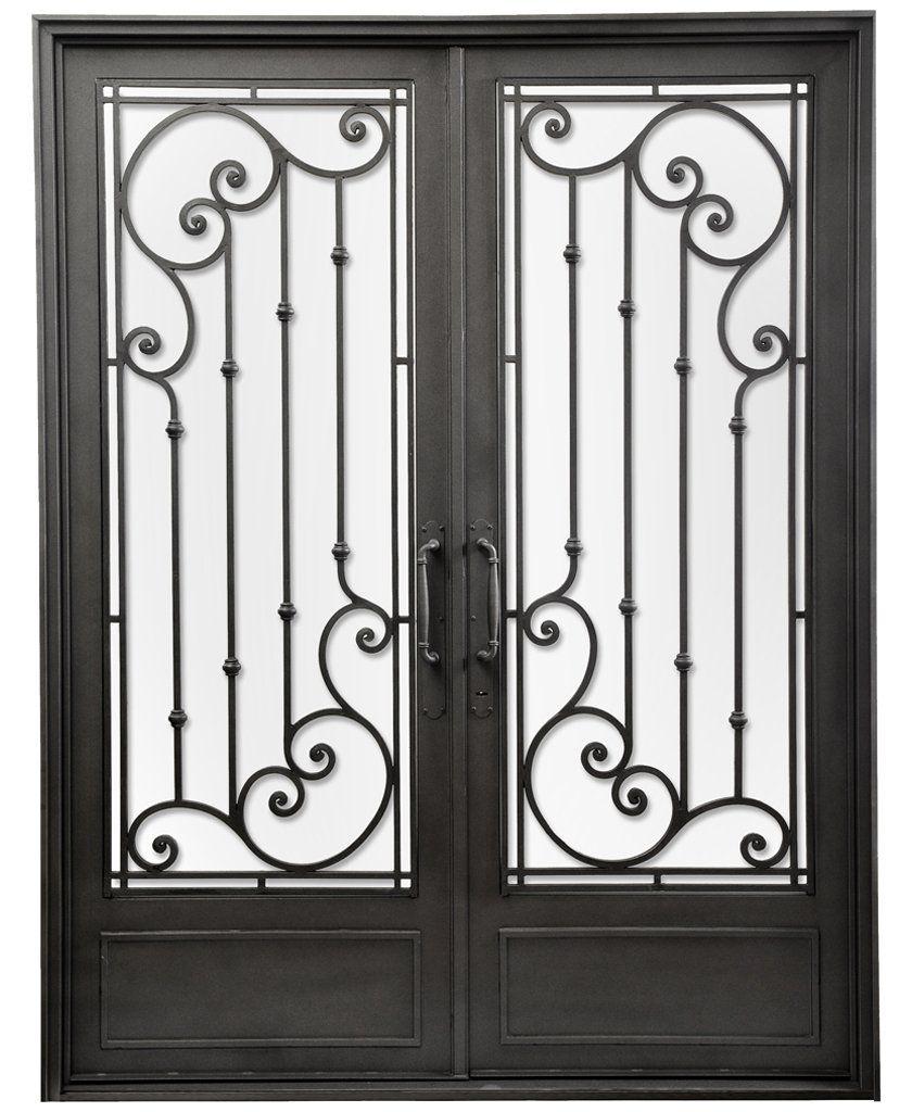 Puerta doble hoja recta serena del hierro design del for Puertas de fierro interiores