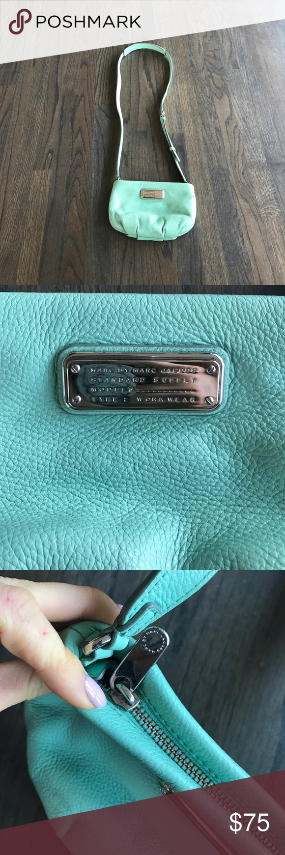 MARC BY MARC JACOBS CLASSIC Q PERCY Limited edition mint color! Worn for  about a month. Slight staining on the inside, but nothing major!
