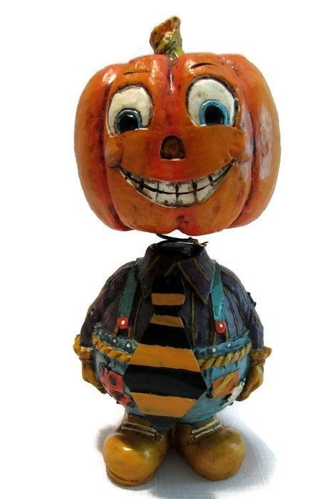 Pumpkin Man Bobblehead Halloween Decor 9in Jack O Lantern