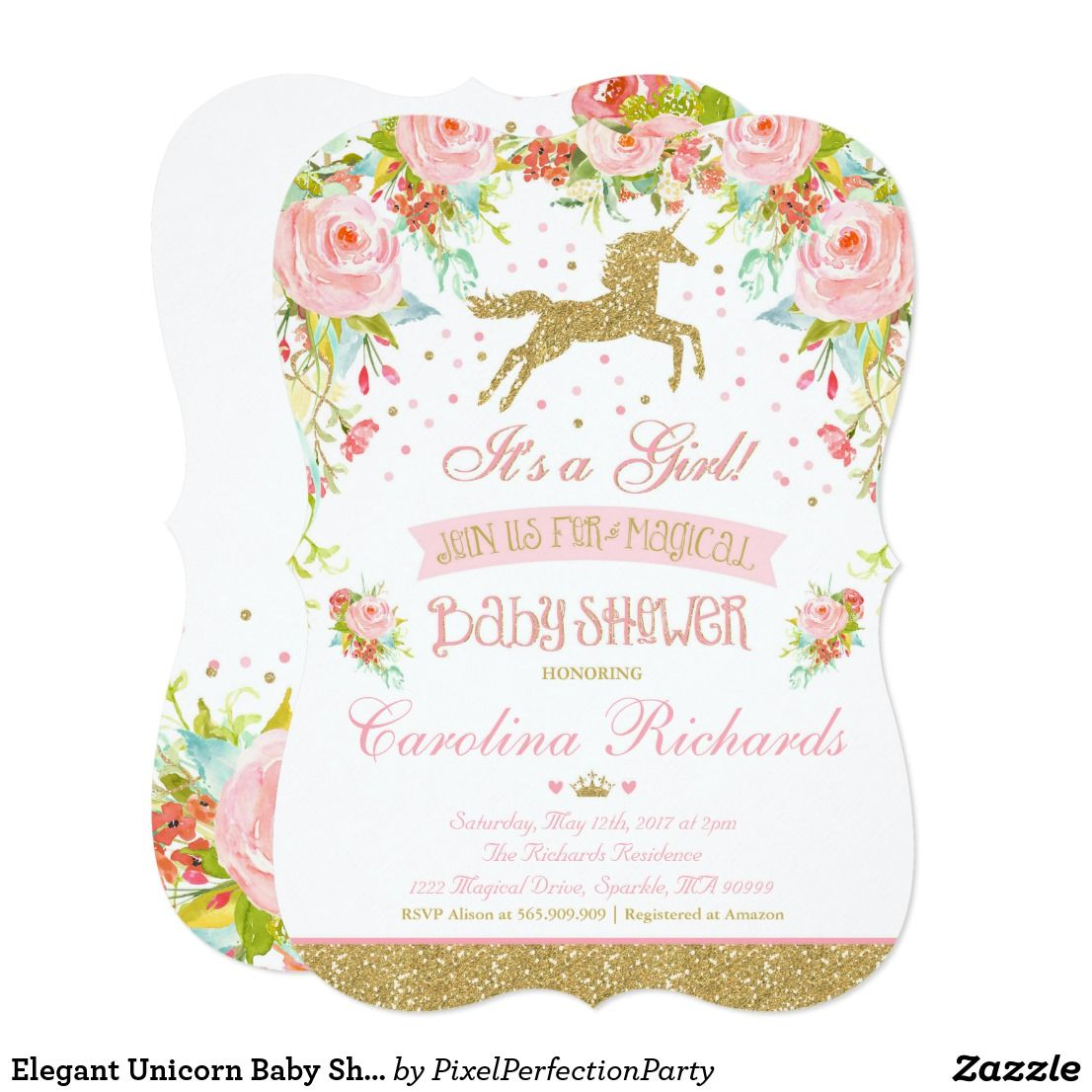 Elegant Unicorn Baby Shower Invitation | Unicorn baby shower ...