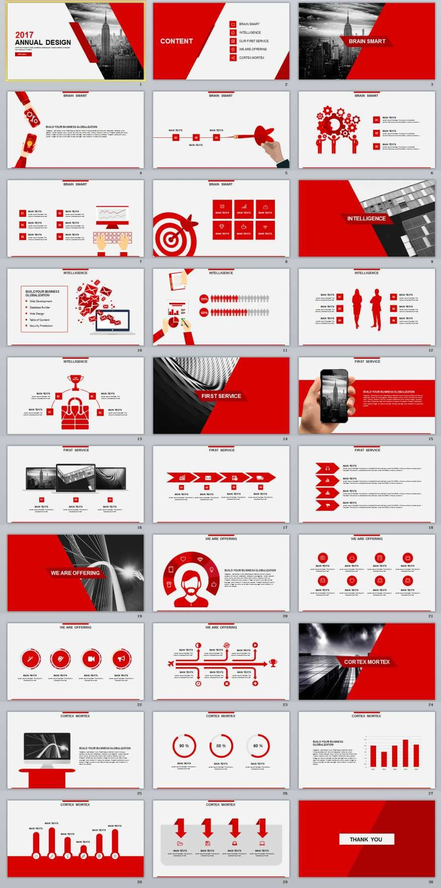 30+ red annual design powerpoint templates | 2018 annual, Modern powerpoint