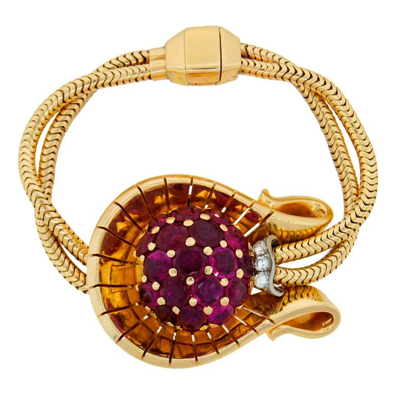 1stdibs | GIRARD PERREGAUX Ruby Diamond & Yellow Gold Retro Watch Bracelet