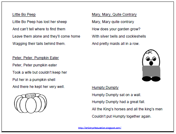 Artistry Of Education Nursery Rhyme Remix Students Take Words And Phrases From A Change It To Another Form