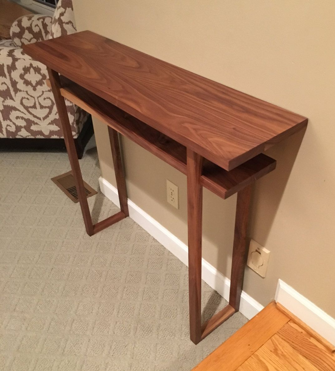 Walnut Console Entry Way Table Modern Console Tables Small