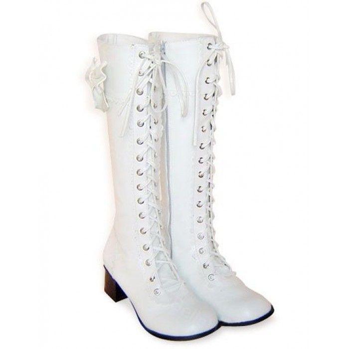 Bottes lolita en imitation cuir blanches lacets noeud à deux boucles coté