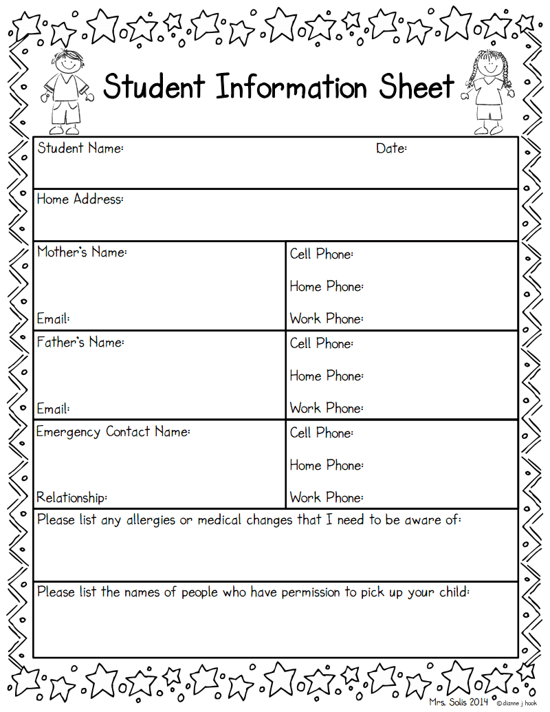 Editable Student Information Sheet  Parent Contact Log Freebie