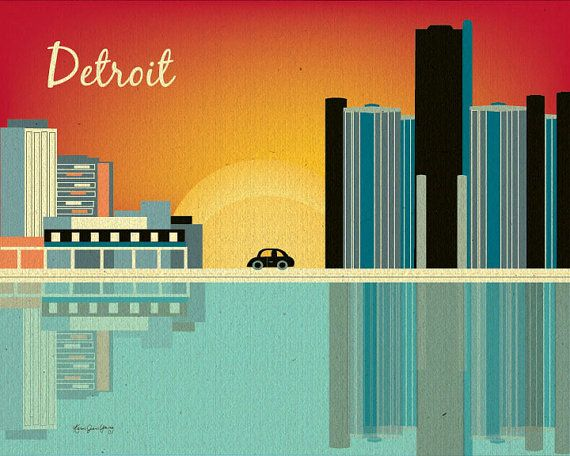 Detroit Skyline Art Print, Detroit Michigan, General Motors ...