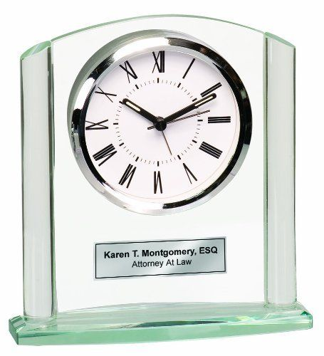 Glass Arch Pillar Desk  Shelf Table Clock with Silver Basel and Engraving Plate Personalized Desk Clock Retirement Gift Birthday and Anniversary Present -- Click image for more details.