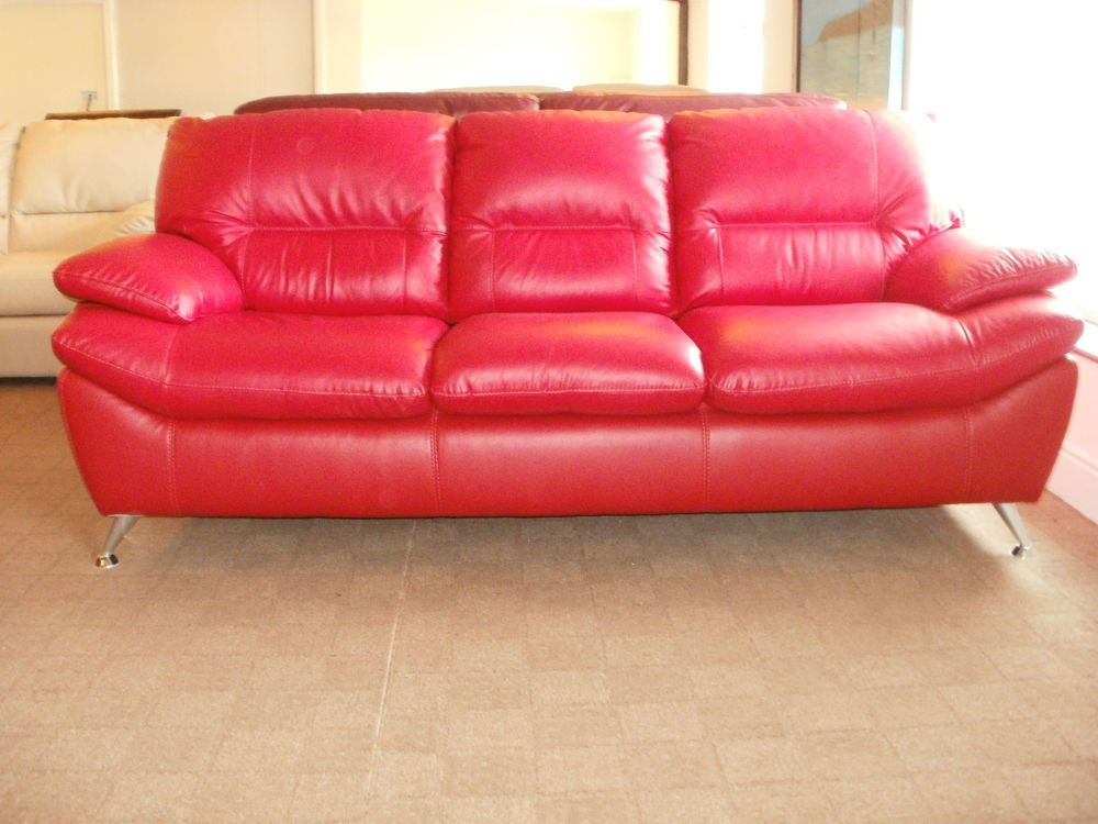 deal of day red leather 3 str sofa 399 ganteed delivery in time for
