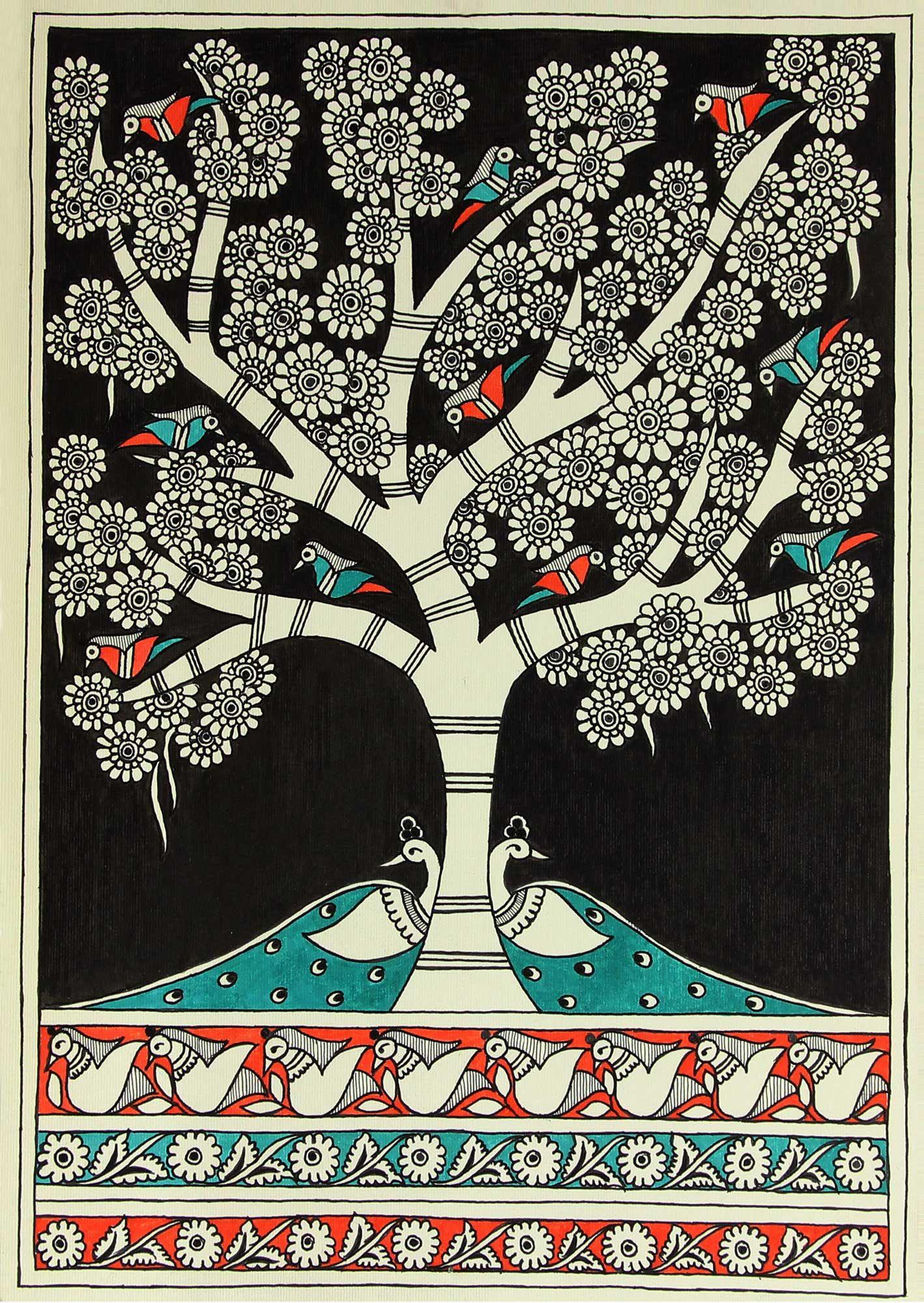 Authentic Indian Folk Art Madhubani Painting - Night ...