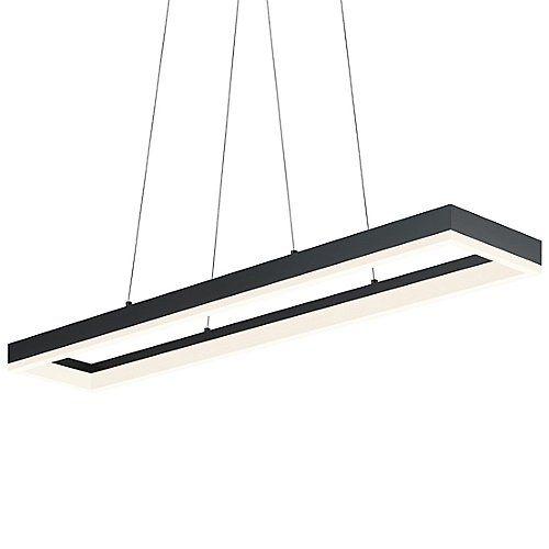 corona led linear suspension satin black large open box corona