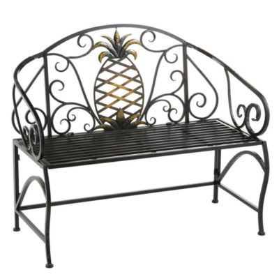 Pleasant Cbk Pineapple Outdoor Iron Garden Bench 292495 On Ebay Caraccident5 Cool Chair Designs And Ideas Caraccident5Info