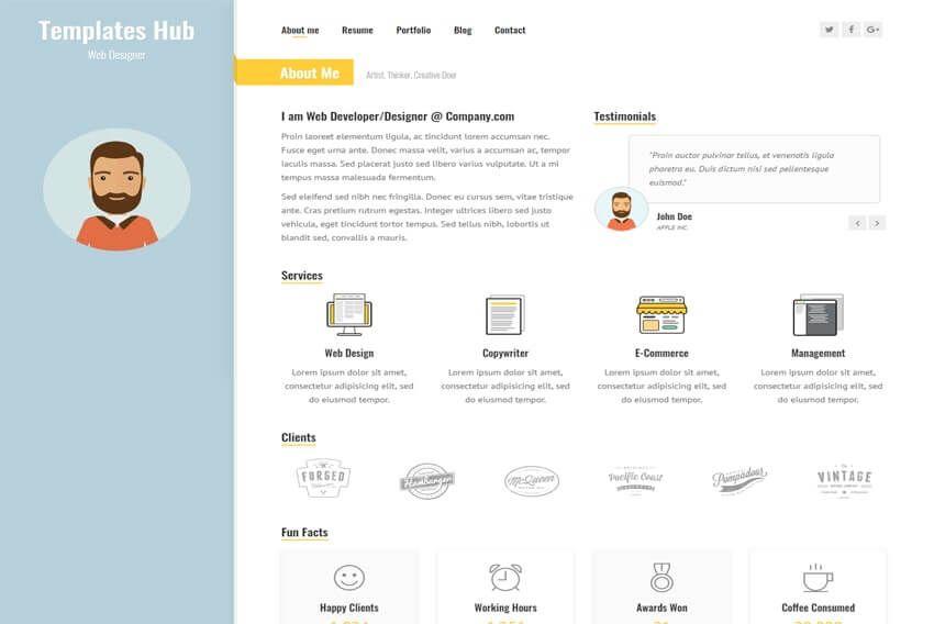 Sunshine Resume Online Portfolio Website Template Portfolio Website Template Online Portfolio Website Online Resume Website
