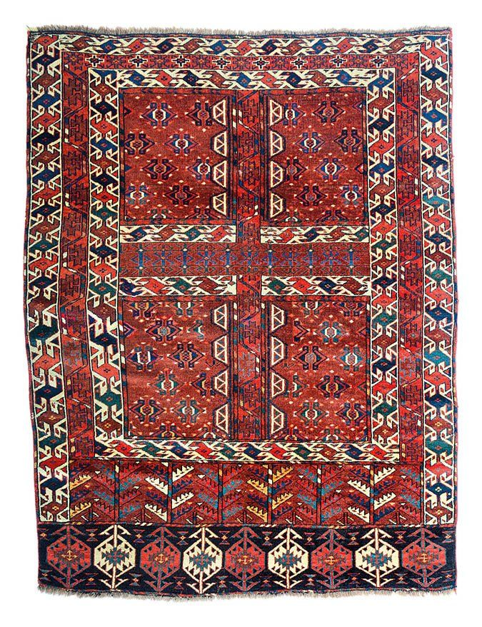 """Yomut Engsi, Turkmenistan circa 1860, 5ft. 4in. x 4ft. 1in. 163 x 124 cm Condition: excellent, even almost full pile and excellent color, some small areas of reweaves and reknotting throughout, selvages rebound Provenance: Caspian region, Turkmenistan Age: Circa 1860  Size: 05' 04"""" x 04' 01"""""""