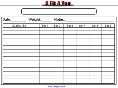 workout log sheet