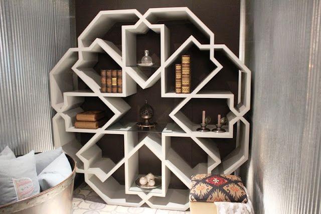 Geometric inspired bookshelf at the Becarre Gallery Ramadan 2012 Exhibition…
