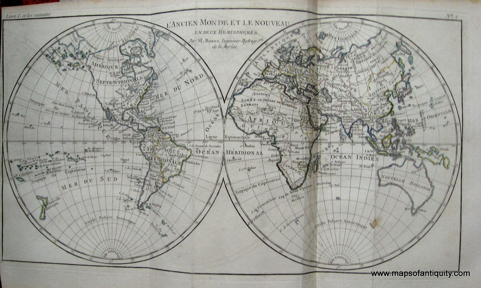 """The Old World and the New, in two hemispheres."" From the Atlas of All Known Parts of Globe, Lists For Philosophical History and Policy establishments and Trade of the Europeans in the two Indies)."" by Raynal and Bonne, 1780. Excellent condition, approx. 8.5 x 12.5 inches. Maker: Raynal and Bonne $300.00 http://www.mapsofantiquity.com/store/Antique_Maps_-_World/L'Ancien_Monde_et_le_Nouveau,_en_deux_hemispheres./inventory.pl?id=WOR037#.U6Xbo_ldV8E"