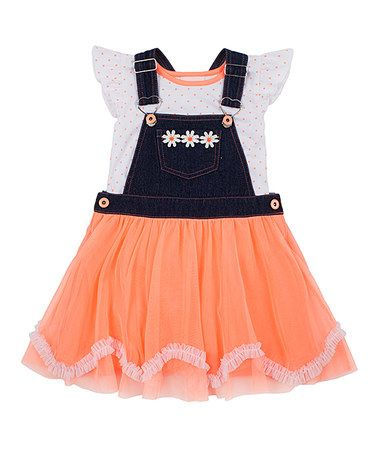 Another great find on #zulily! Neon Orange Denim Tutu Skirtall & Tee - Toddler & Girls #zulilyfinds